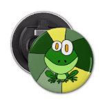 Abrebotellas feliz del botón de la rana abrebotellas redondo