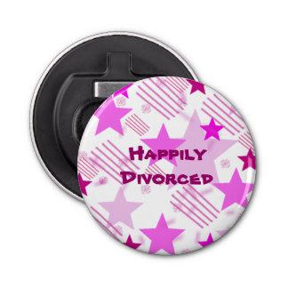 Abrebotellas feliz divorciado del botón abrebotellas redondo