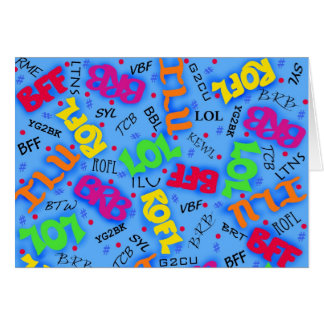 Abreviaturas azules de los símbolos del arte del tarjeta de felicitación