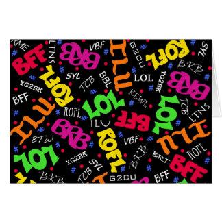 Abreviaturas negras de los símbolos del arte del tarjeta de felicitación