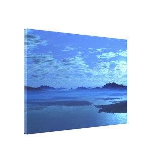 Abrigo azul de la lona de bella arte del lago moun lona estirada galerías