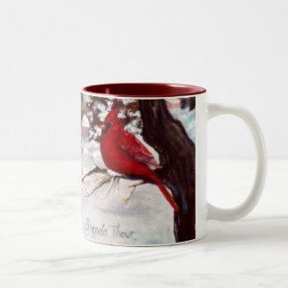 Abrigo cardinal de la serenidad de los inviernos tazas de café