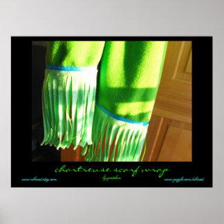 Abrigo chartreuse de la bufanda por el poster de G