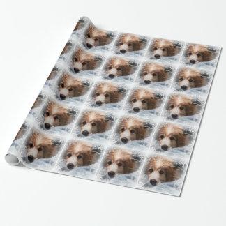 Abrigo de regalo de vacaciones del perrito de los papel de regalo