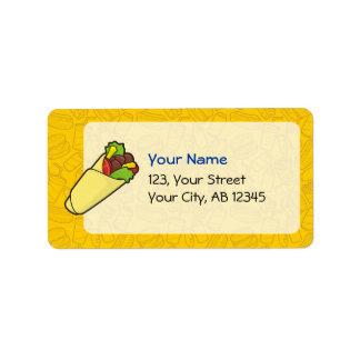Abrigo del bocadillo de la tortilla etiquetas de dirección