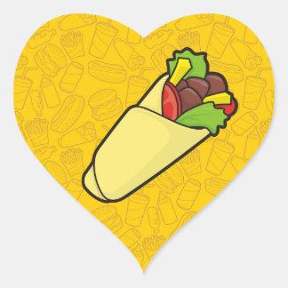 Abrigo del bocadillo de la tortilla pegatina en forma de corazón