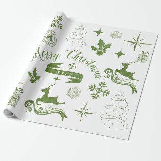Abrigo del navidad verde y blanco del vintage papel de regalo