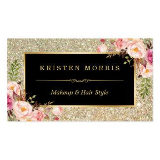 Abrigo floral del salón de pelo del artista de tarjetas de visita