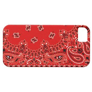 Abrigo occidental rojo de la tela de la bufanda iPhone 5 Case-Mate coberturas