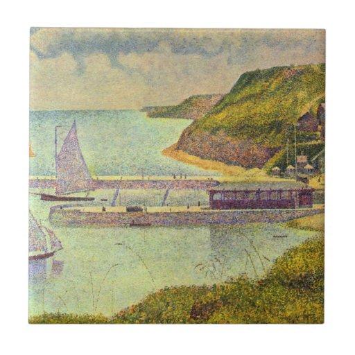 Abrigúese en el Puerto-en-Bessin en la alta marea Tejas
