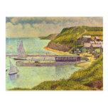 Abrigúese en el Puerto-en-Bessin en la alta marea Tarjetas Postales