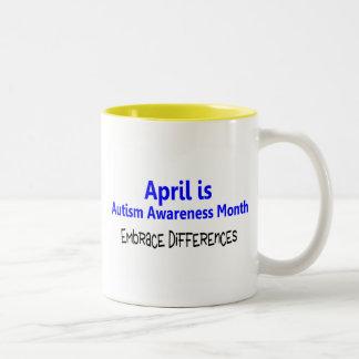 Abril es diferencia del abrazo del mes de la conci tazas de café