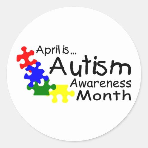 Abril es mes de la conciencia del autismo (los pegatina redonda