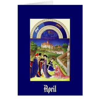Abril - la baya de Tres Riches Heures du Duc de Tarjeta Pequeña