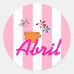 Abril personalizó a los pegatinas