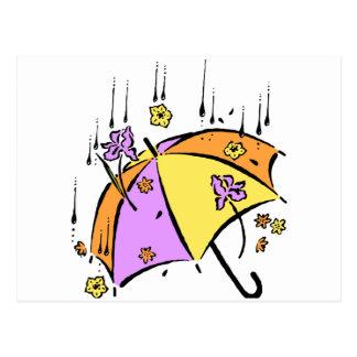 Abril riega el paraguas tarjetas postales