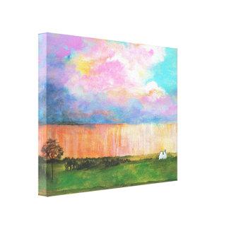Abril riega la pintura de casa abstracta del lienzo envuelto para galerías