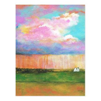 Abril riega la pintura de casa abstracta del postal