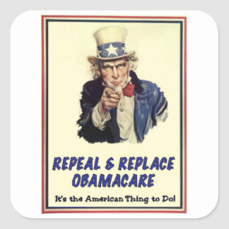 Abrogue y substituya Obamacare Pegatinas Cuadradases