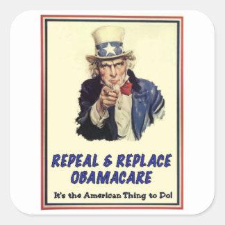 Abrogue y substituya Obamacare Pegatina Cuadrada