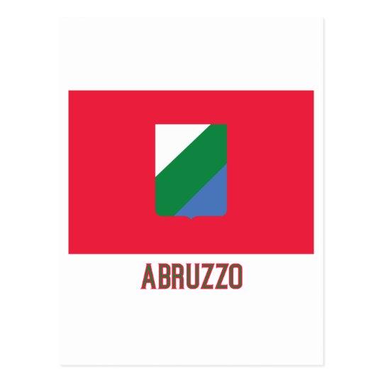 Abruzzo flag with name postcard