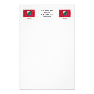 Abruzzo waving flag with name stationery paper