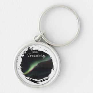 ABS Aurora Borealis Streamer Silver-Colored Round Keychain