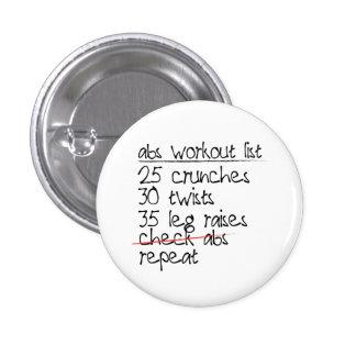 Abs Workout List Pinback Button