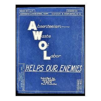 Absenteesim Waste Of Labor, Helps Our Enemies Postcards