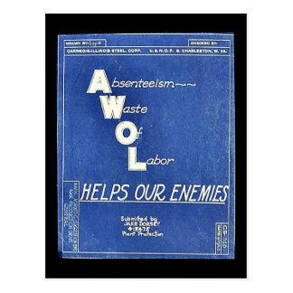 Absenteesim Waste Of Labor, Helps Our Enemies Post Card