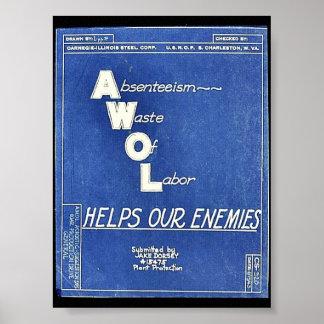 Absenteesim Waste Of Labor, Helps Our Enemies Posters