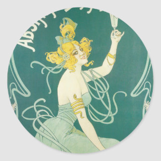 Absinthe Blanqui French victorian Art Nouveau Classic Round Sticker