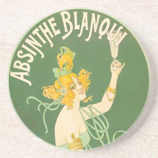 Absinthe Blanqui Vintage Absinthe Art Beverage Coasters