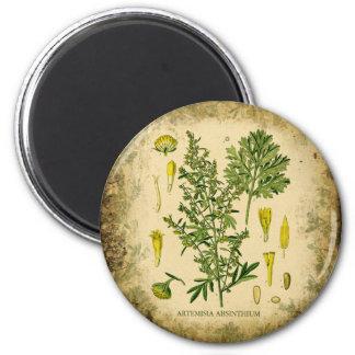 Absinthe Botanical Collage 2 Inch Round Magnet