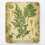 Absinthe Botanical Collage Mouse Pad