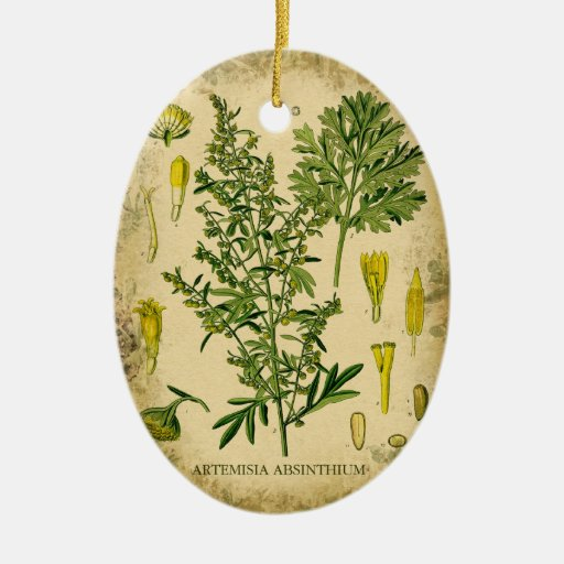 Absinthe Botanical Collage Double-Sided Oval Ceramic Christmas Ornament