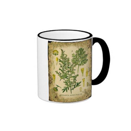Absinthe Botanical Collage Ringer Coffee Mug