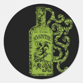 Absinthe Bottle Swirls Classic Round Sticker