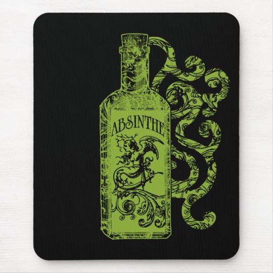 Absinthe Bottle Swirls Mouse Pad
