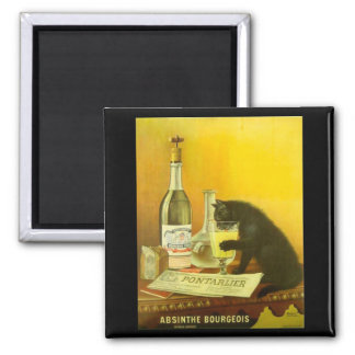 Absinthe Bourgeois and Cat Fine Vintage Poster 2 Inch Square Magnet