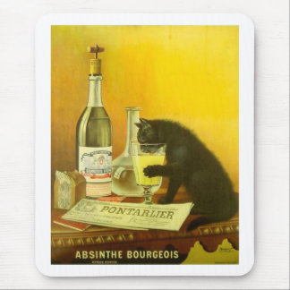 Absinthe Bourgeois and Cat Fine Vintage Poster Mouse Pad