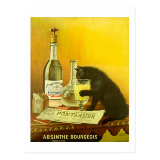 Absinthe Bourgeois and Cat Fine Vintage Poster Postcard