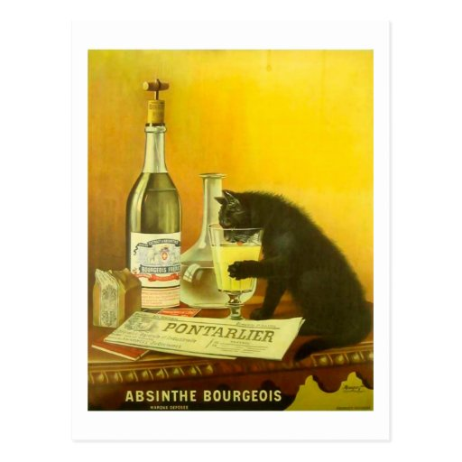 Absinthe Bourgeois and Cat Vintage Poster Art Post Card