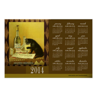 Absinthe Bourgeois Vintage Cat 2014 Calendar 24x16 Posters