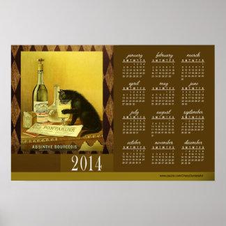 Absinthe Bourgeois Vintage Cat 2014 Calendar 24x16 Posters