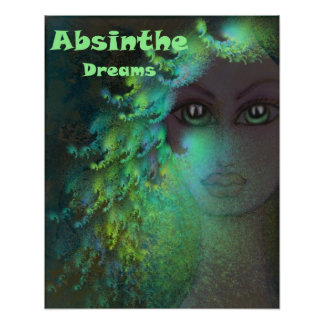 Absinthe Dreams Psychedelic Fractal Art Green Poster
