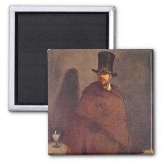 Absinthe Drinker - Edouard Manet 2 Inch Square Magnet