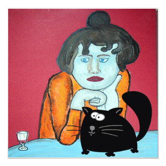 Absinthe Drinker Fat Black Cat Card