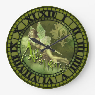 Absinthe Fairy Collage 2 Large Clock