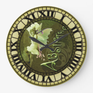 Absinthe Fairy Collage 3 Large Clock
